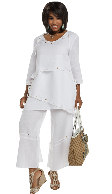 Lisa Rene 3314 ( 2pc Linen Tunic And Pant Set For Church With Gold Grommets And Lacings )
