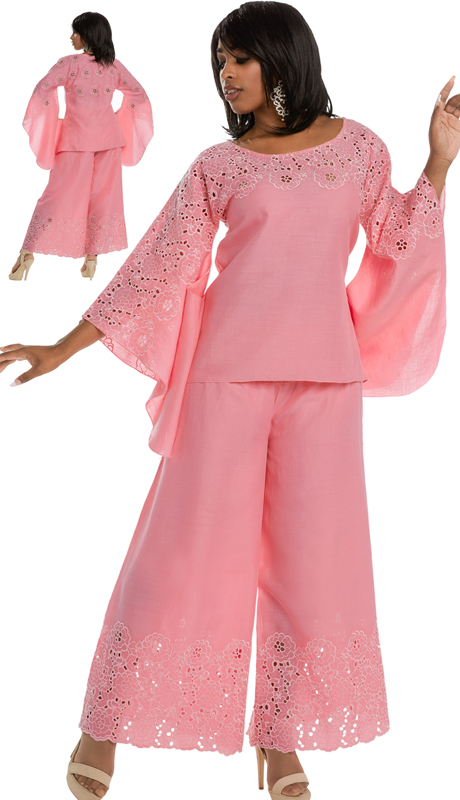 Lisa Rene 3326 ( 2pc Linen Tunic And Pant Set For Church With Elaborate Embroidery )