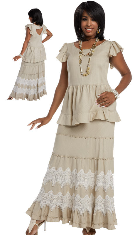 Lisa Rene 3325 ( 2pc Linen Top And Skirt Set For Sunday With Elaborate Guipure Lace On Skirt )