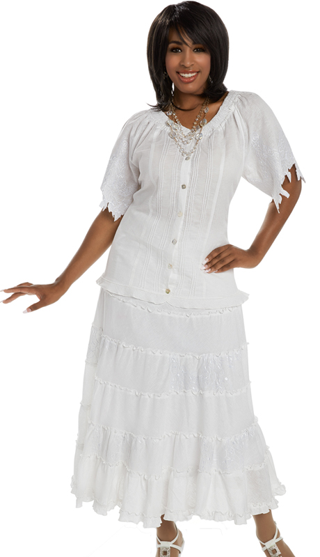 Lisa Rene 3324 ( 2pc Linen Top And Skirt Set For Church With Elaborate Embroidery On Sleeves And Skirt )