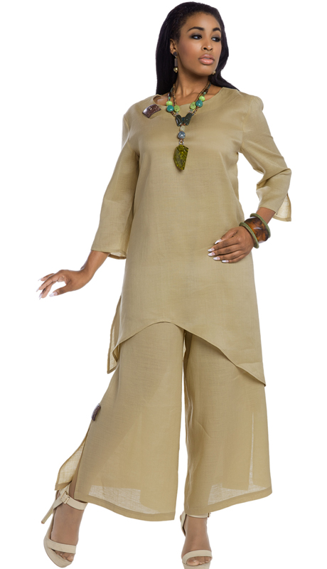 Lisa Rene 3322 ( 2pc Linen Tunic And Pant Set For Sunday With Wooden Trims )