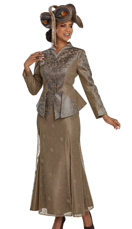 Donna Vinci 5657-TA-CO 2pc Exclusive Novelty Sunday Suit Trimmed With Rhinestone Buttons )