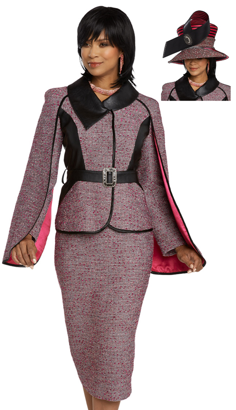 Donna Vinci 5654-FB ( 2pc Exclusive Boucle Suit For Church Designed With Leatherette And Satin )