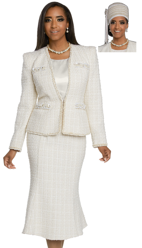 Donna Vinci 5653-WH ( 3pc Exclusive Boucle Sunday Suit Designed With Pearls, Rhine Stones And Beads )