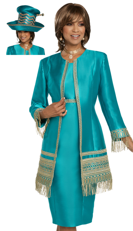 Donna Vinci 11781-EM ( 2pc Exclusive Silk First Lady Suit With Exclusive Guipure Lace Trim )