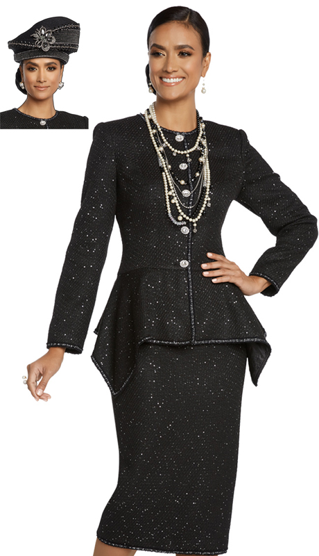 Donna Vinci 5652-BK ( 2pc Exclusive Boucle Ladies Church Suit With Silver Trim Inside And Rhinestone Button )