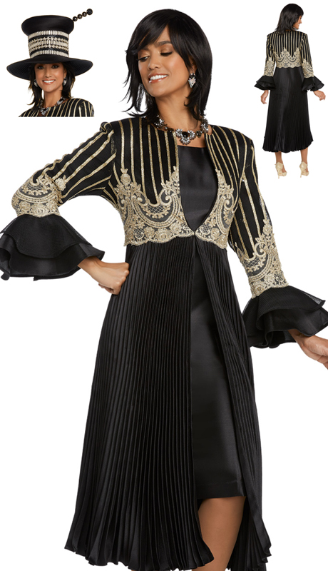 Donna Vinci 5650-BG ( 2pc Exclusive Novelty Silk Church Dress Trimmed With Gold Guipure Lace And Pleated Jacket )