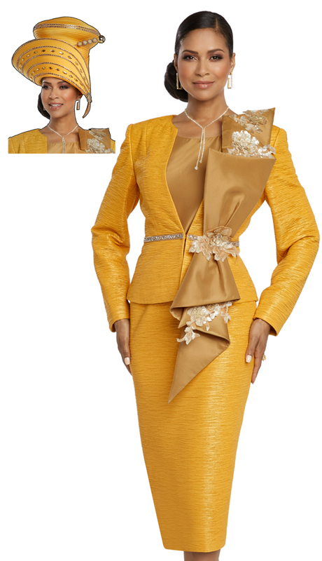 Donna Vinci 5649-MU ( 3pc Exclusive Novelty Suit For Church Designed With Rhinestones And Laced Sequin Trims )