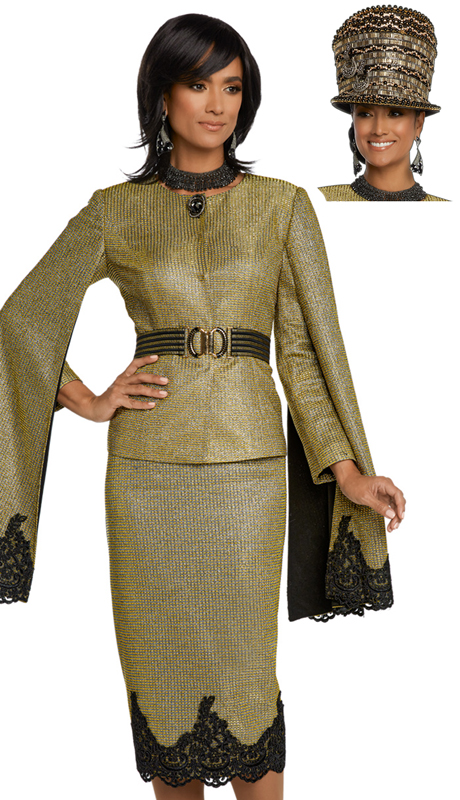 Donna Vinci 5646-GB-CO ( 2pc Exclusive Novelty Metallic First Lady Suit Designed With Black Guipure Lace And Beautiful Rhinestone Brooch
