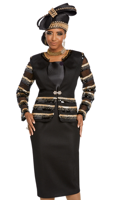 Donna Vinci 5645-BG ( 3pc Exclusive Novelty Suit For Sunday With Black And Gold Trims And Rhinestone Buckle )