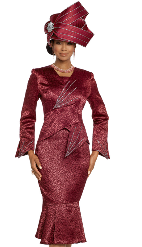 Donna Vinci 5663-BU-CO ( 2pc Exclusive Novelty Satin And Velvet Suit For Church Designed With Rhinestones )