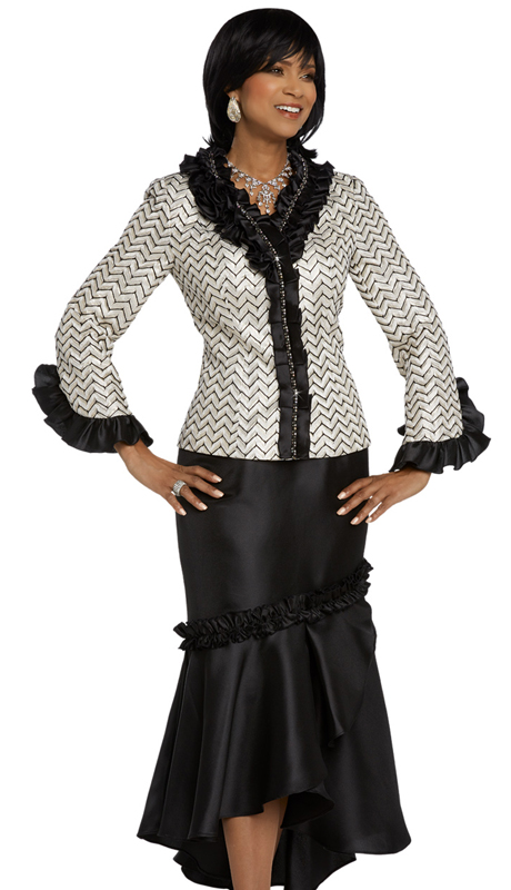 Donna Vinci 5644-OB ( 2pc Exclusive Novelty Silk Ladies Church Suit With Rhinestone Trims )