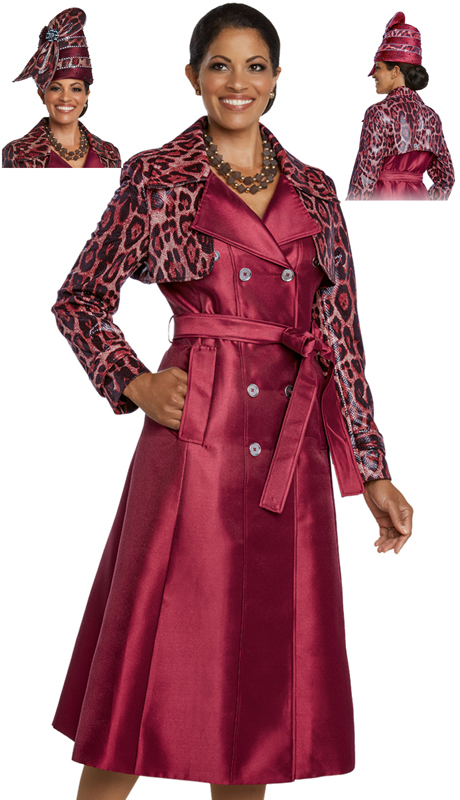 Donna Vinci 5643-BU ( 2pc Exclusive Novelty First Ladies Silk Dress, Trimmed With Gold Buttons And Belt )
