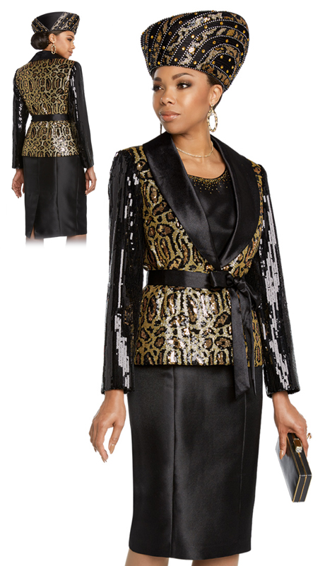 Donna Vinci 5642-BG ( 2pc Exclusive First Lady Suit With Black Sequins And Print Sequins Fabrics With Sateen Lapel )