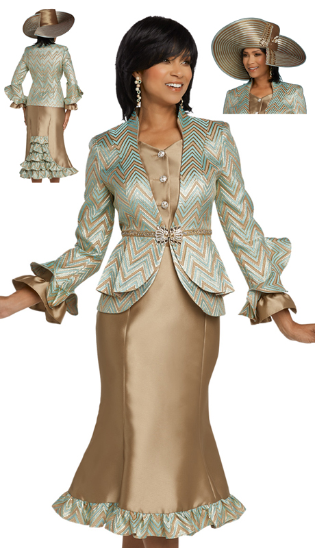 Donna Vinci 5640-MC ( 2pc Exclusive Novelty Silk First Lady Suit With Rhinestone Trims, Buttons And Belt )
