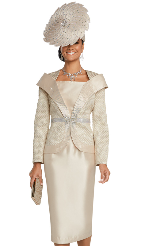 Donna Vinci 5639-CH ( 2pc Exclusive Silk And Novelty Church Suit With Elaborate Rhinestone Trims And Buckle )