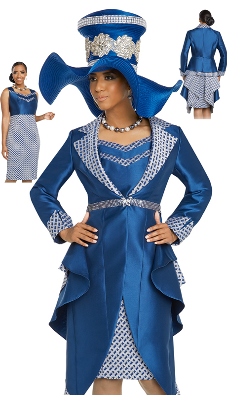 Donna Vinci 5637-RO ( 2pc Exclusive Novelty Silk Dress For Church With Elaborate Rhinestone Trims And Buckle )