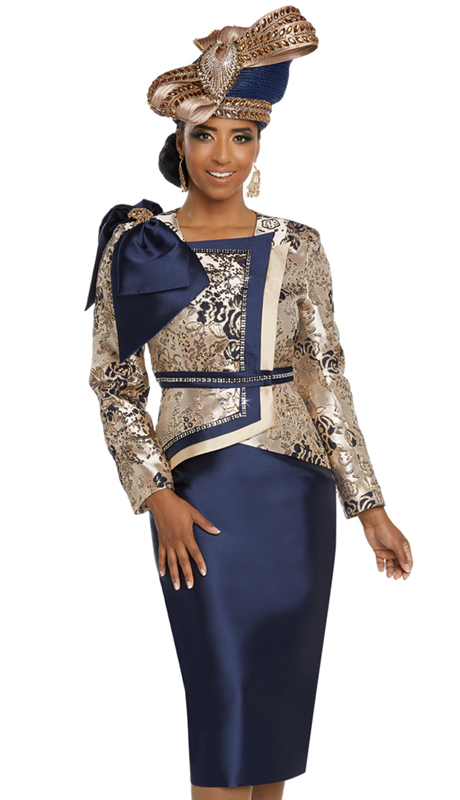 Donna Vinci 5636-NG ( 2pc Exclusive Novelty Silk Ladies Church Suit With Rhinestone Trims )