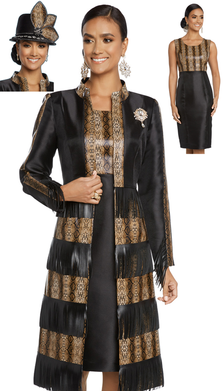 Donna Vinci 5635-BP ( 2pc Exclusive Novelty Silk Suit For Sunday With Fringe Leatherette And Detachable Brooch )