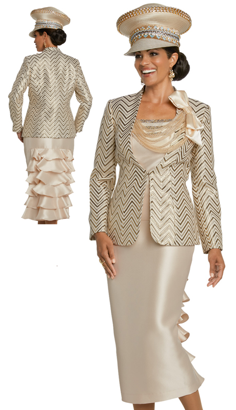Donna Vinci 5633-CG ( 3pc Exclusive Novelty Silk Suit For Church With Attached Rhinestone Trimmed Necklace )
