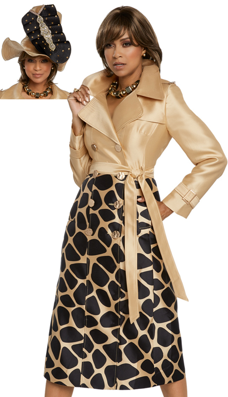 Donna Vinci 11812-GB-CO ( 1pc Exclusive Silk Dress Trimmed With Gold Buttons )