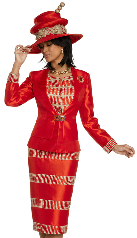 Donna Vinci 11811-RG ( 2pc Silk Church Suit Trimmed With Guipure Lace With Rhinestone Buttons, Buckle And A Detachable Brooch )