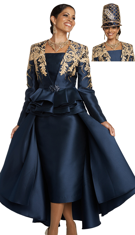Donna Vinci 11738-NG ( 2pc Jacket And Dress Set With Black Guipure Lace And Rhinestone Buckle )
