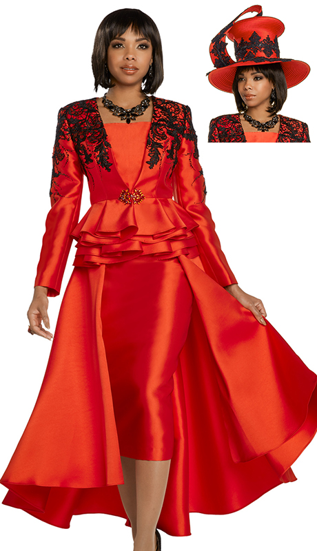 Donna Vinci 11738-RB ( 2pc Exclusive Silk Jacket And Dress Set With Black Guipure Lace And Rhinestone Buckle )