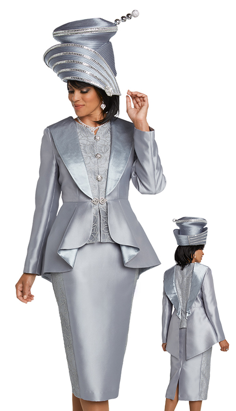 Donna Vinci 11744-PL-CO ( 2pc Exclusive Novelty Silk Ladies Church Suit With Platinum Trimmings And Rhinestone Buttons )