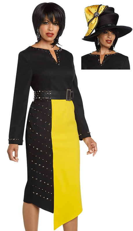 Donna Vinci 11774-BY-CO ( 1pc Exclusive PeachSkin Womens Dress For Church Trimmed With Gunmetal Shaped Studs And Leatherette Stretchable Belt )