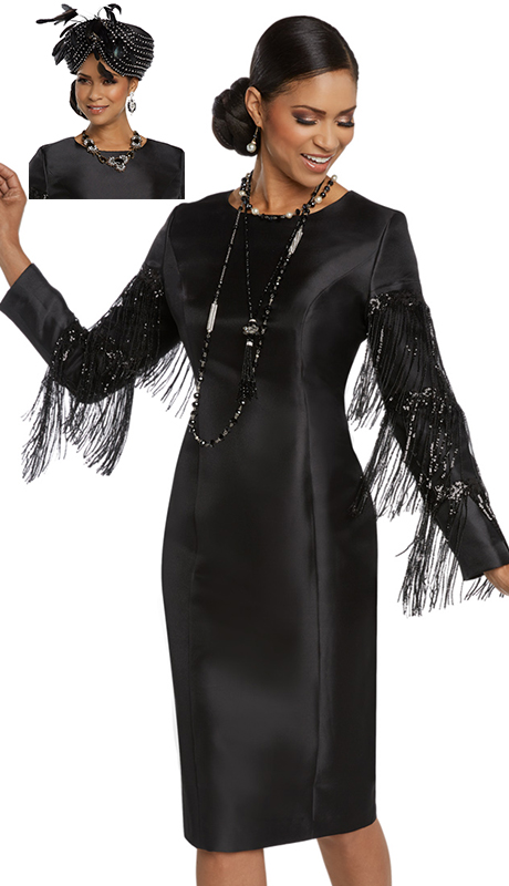 Donna Vinci 11778-BLK ( 1pc Novelty Silk Womens Church Dress Trimmed With Exclusive Sequins Fringe )