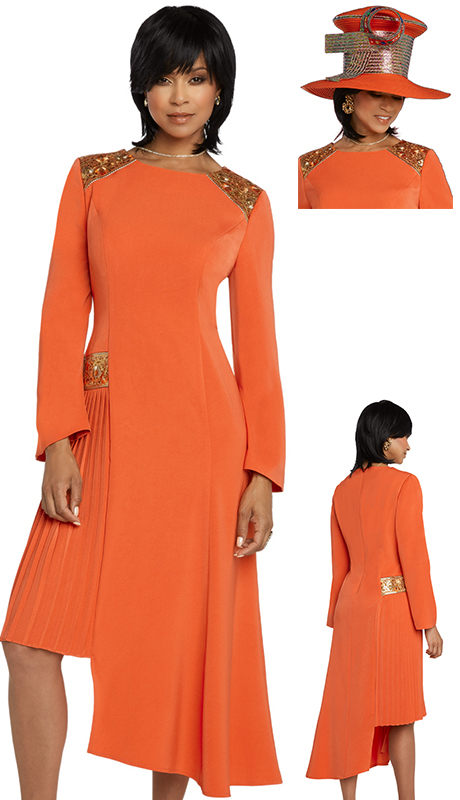Donna Vinci 11779-OR-CO ( 1pc Exclusive PeachSkin Womens Dress For Church Designed With Embroidered Novelty Trim )