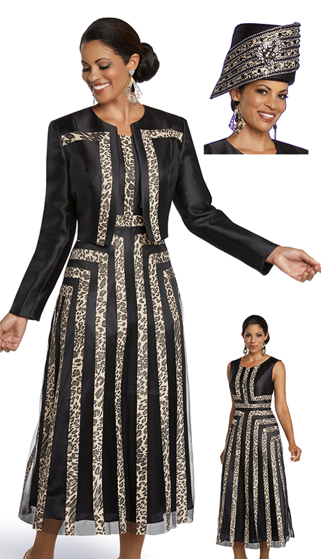Donna Vinci 11782-BLB ( 2pc Silk Womens Church Dress With Jacket Designed With Animal Print And Novelty Fabric )