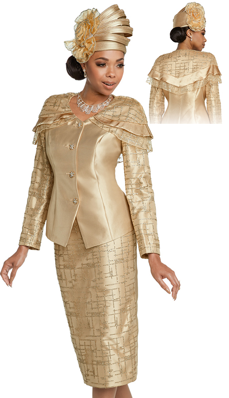 Donna Vinci 11786-GO ( 2pc Silk Designer Womens Church Suit With Novelty Mesh, Gold Trims And Gold Trim Buttons )