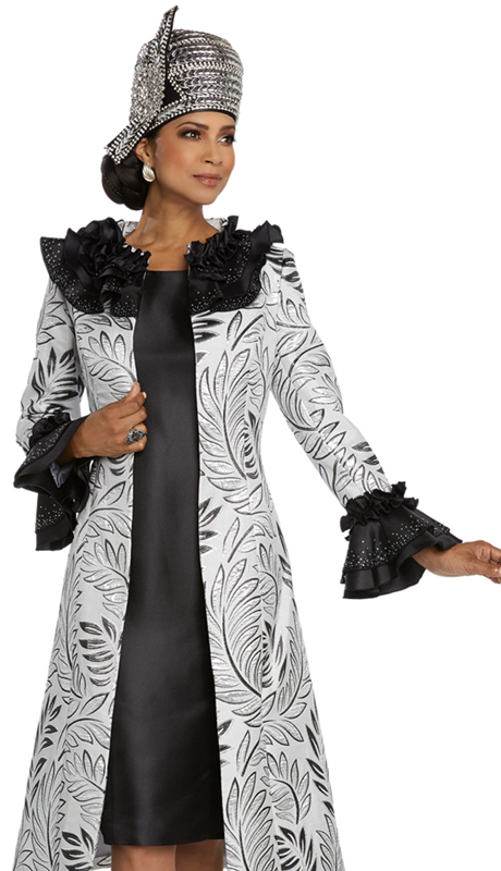 Donna Vinci 5660-SB ( 2pc Exclusive Novelty And Silk Ladies Church Dress Trimmed With Rhinestones )