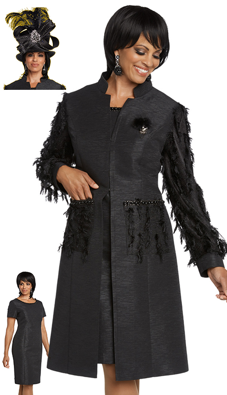 Donna Vinci 11788-BK ( 2pc Exclusive Novelty Dress For Sunday Trimmed With Feathers, Rhinestones And Detachable Brooch )