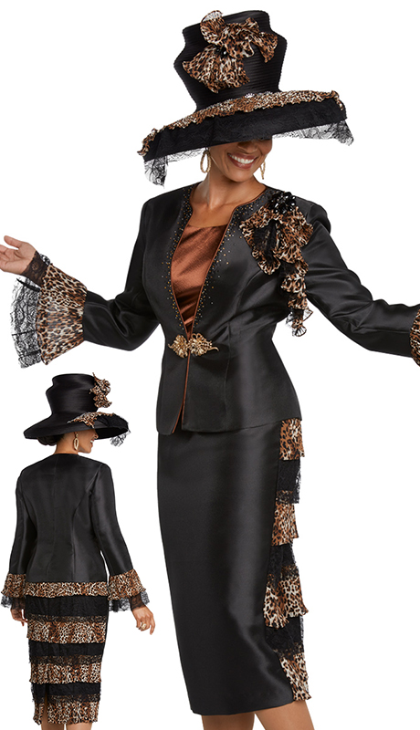Donna Vinci 11791-BC ( 3pc Exclusive Silk Suit For Church Designed With Printed Chiffon, Black Lace, Large Black Rhinestone Brooch, Rhinestone Trim And Buckle )