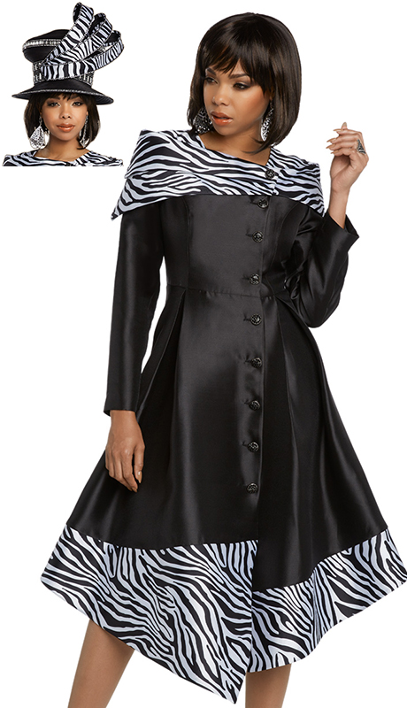 Donna Vinci 11792-BW ( 1pc Exclusive Silk Church Dress Designed With Rhinestone Buttons )