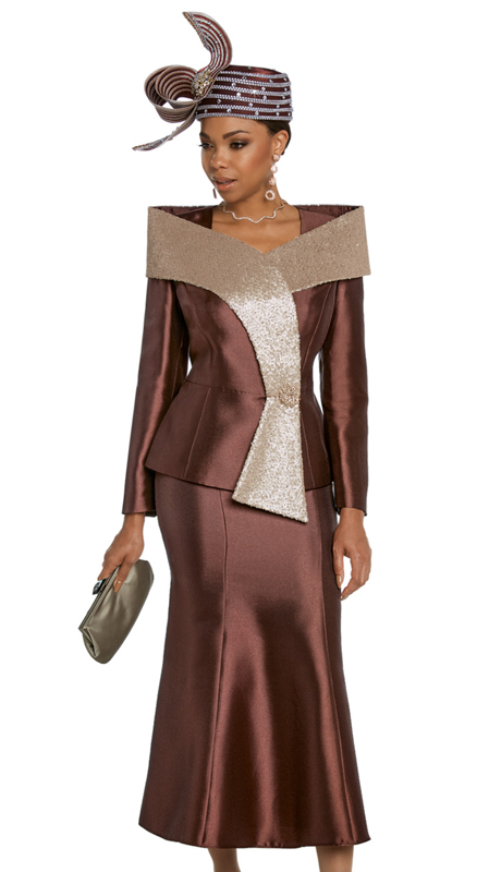 Donna Vinci 11810-BG ( 2pc Silk Womens Church Suit With Gold Metallic Novelty Sequins And Large Rhinestone Button )