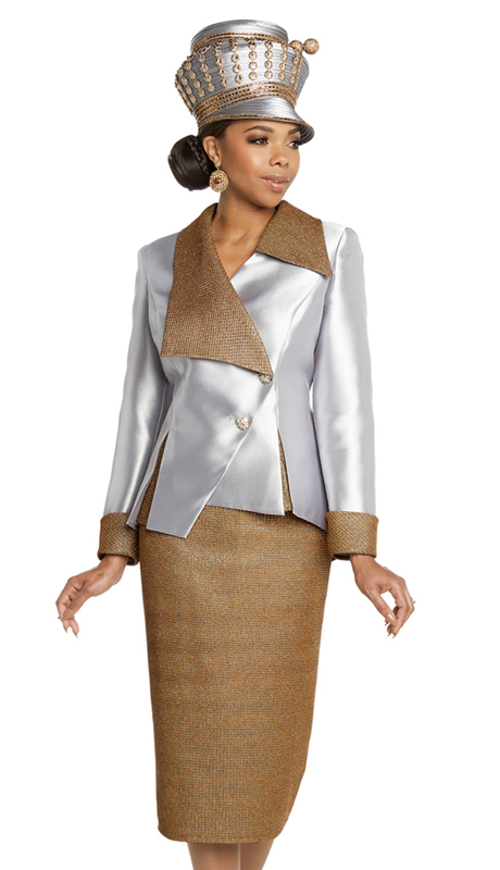 Donna Vinci 11808-PG ( 2pc Silk Sunday Suit With Gold Metallic Novelty And Rhinestone Button )