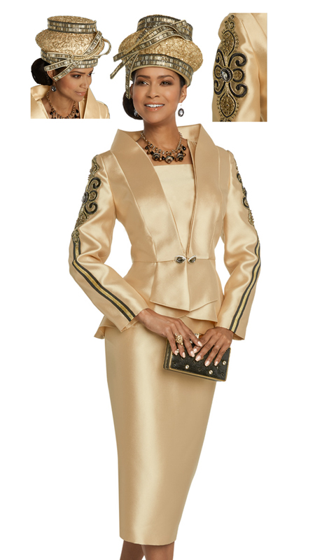 Donna Vinci 11807-GO-CO ( 2pc Exclusive Silk Ladies Church Suit With Elaborate Applique And Embroidery Design, Trimmed With Stones And Rhinestone Buckle )