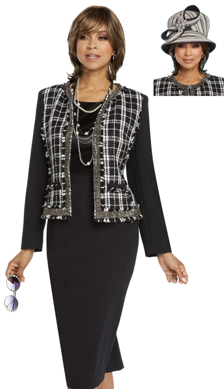 Donna Vinci 5659-BW-CO ( 3pc Exclusive PeachSkin And Boucle First Lady Suit With Rhinestone Band )