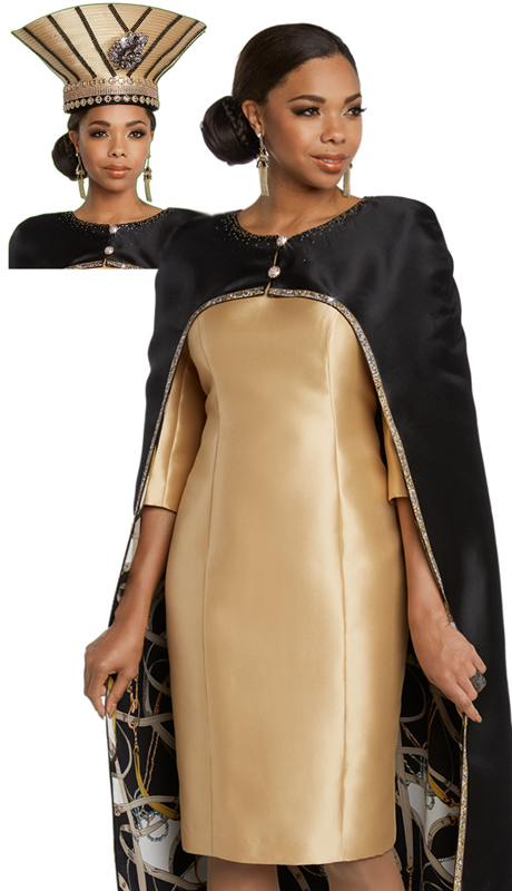 Donna Vinci 11802-BG ( 2pc Exclusive Silk Church Dress With Beautiful Rhinestone Trims And Buttons )