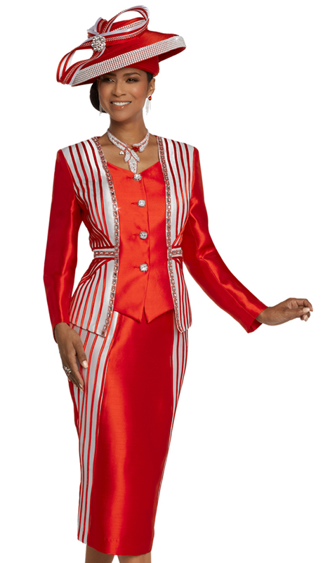 Donna Vinci 11800-RE ( 2pc Exclusive Silk Church Suit With Satin Strapping, Rhinestone Trims And Buttons )
