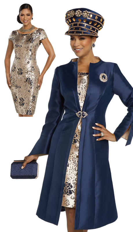 Donna Vinci 11799-NG ( 2pc Exclusive Novelty And Silk Ladies Sunday Dress Trimmed With A Beautiful Brooch And Buckle )