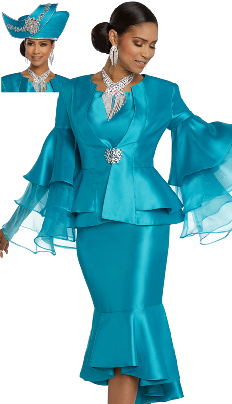 Donna Vinci 11797-TU ( 3pc Exclusive Silk First Lady Suit Designed With Organza Sleeves And A Large Rhinestone Buckle )