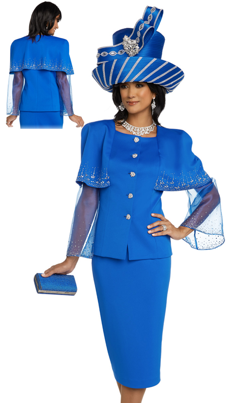 Donna Vinci 11796-RO-CO ( 2pc Exclusive PeachSkin Ladies Church Suit With Organza Sleeves, Rhinestone Trims And Buttons )
