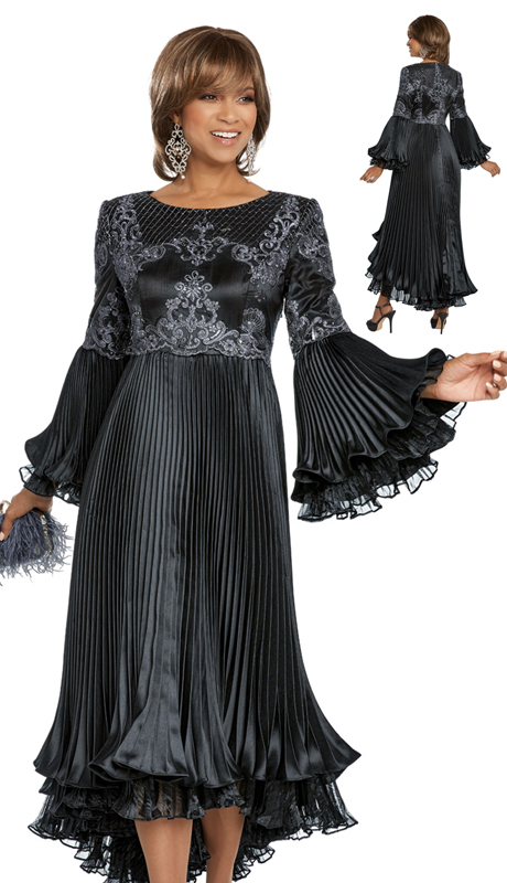 Donna Vinci 11793-BLK ( 1pc Pleated Exclusive Silk Ladies Church Dress Designed With Embroidered Organza Trimmed With Beads And Sequins )