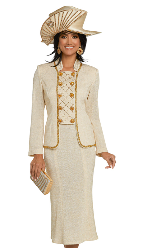 Donna Vinci 13277-BG ( 2pc Exclusive Knit Suit For Church Trimmed With Golden Gravel Trim, Gold Rhinestones And Beautiful Large Rhinestone Buttons )
