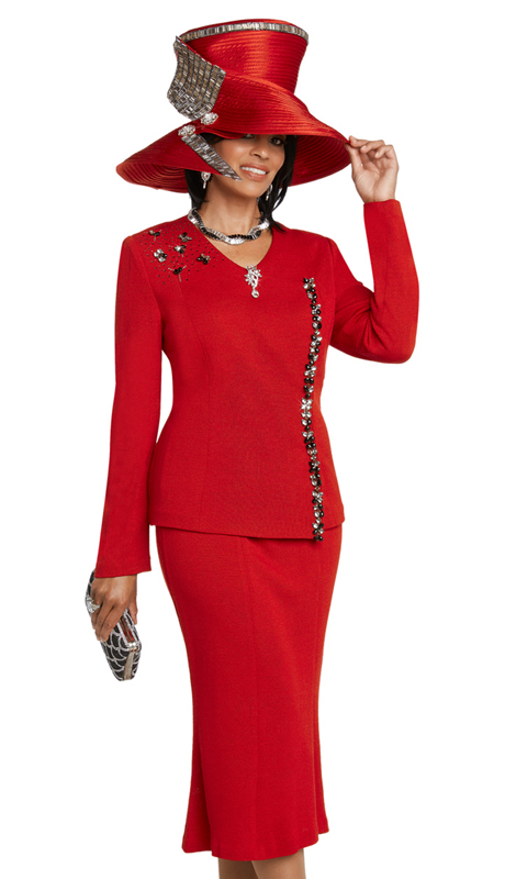 Donna Vinci 13275-RE ( 2pc Exclusive Knit Suit For Sunday Trimmed With Large And Small Rhinestones )